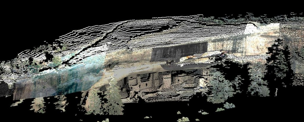 Goff survey work using a Total Station with scanner capabilities to scan the face of the Spruce Tree site at Mesa Verde. The client was using this data along with detailed shots of the cracks on the face of the Cliff for future work to mitigate the cliff face deterioration.